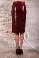 Wine sequin pencil skirt  image