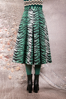 Emerald green tiger print inverted pleat skirt  image