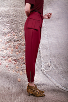 Burgundy tapered pants with pouch belt  image