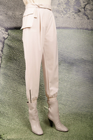 Ivory tapered pants with pouch belt  image