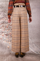 Camel plaid paperbag pants  image
