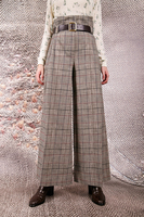 Green plaid paperbag pants  image