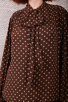 Chocolate pussy bow dotted blouse  image