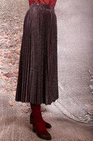 Plum lurex pleated skirt  image