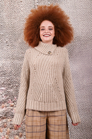 Oatmeal melange sweater with buttoned neckline  image