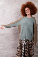 Contrasted knit oversize sweater  image