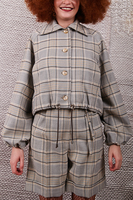 Houndstooth check cropped jacket  image
