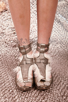 Leather and Fur Flats with Ankle Straps image