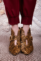 Zebra print ankle boots with buckle image