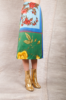 Floral grid printed skirt  image
