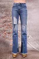 Distressed and washed patchwork jeans  image