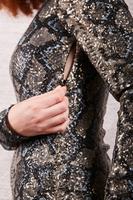 Snakeskin printed sequin dress image