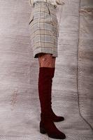 Pantaloncini a vita alta a pied-de-poule di controllo image