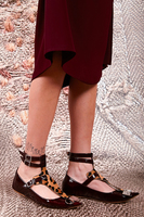 Wine Patent Leather and Leopard Print Flats with Ankle Straps image