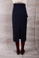 Navy midi wool skirt with pouch detail  image