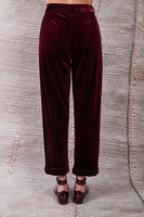 Wine tapered velvet pants  image