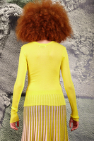 Sunny yellow fitted sheer top  image