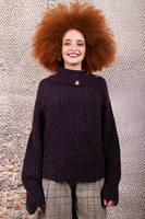 Plum melange sweater with buttoned neckline  image