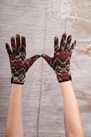 Burgundy Zig Zag Gloves image