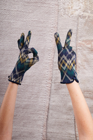 Green and Navy Zig Zag Gloves image