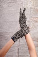 Navy Geometric Pattern Gloves image