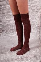 Burgundy Lurex Over the Knee Socks  image