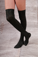 Black Lurex Over the Knee Socks  image