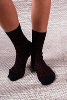 Red and Black Leopard Print Socks  image