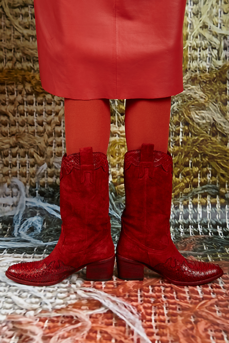 Red Suede Cowboy Boots   Wait and See