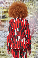 Blazer in Red Geometric Printed Jersey image