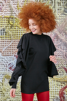 Black sweater with sleeve flounces  image