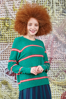 Green sweater with stripes  image