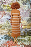 Knit long dress with stripes  image