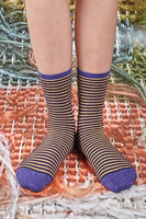 Purple and Yellow Stripe Mid Height Socks  image