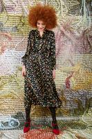 Polka dot midi dress with pleated skirt image