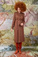 Midi dress in geometric print  image