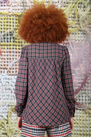 Plaid blouse with gathers  image