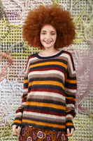 Oversized autumnal colour striped sweater image