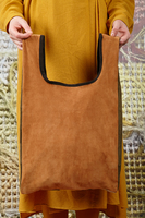 Patchwork Shopper Bag in Suede and Leather  image