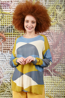 Geometric colourblock printed sweater  image