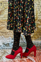 Red suede high heels  image