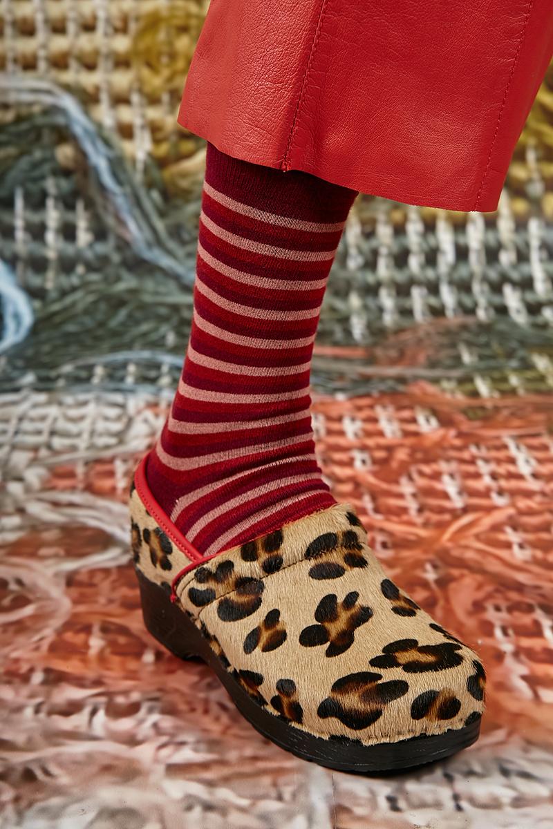 Leopard Print Ponyskin Clog Shoes