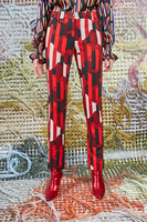 Pants in Red Geometric Printed Jersey  image
