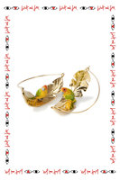Parrot on a leaf earrings image