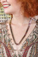Long necklace in Rose coloured crystals  image