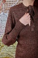 Bronze lurex sweater with neck ties  image