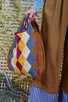 Geometric Patchwork Shopper Bag in Suede  image