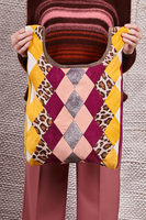 Leopard Geometric Patchwork Shopper Bag in Suede  image