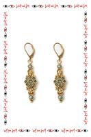 Emerald drop earrings with swirls  image