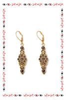 Garnet drop earrings with swirls  image